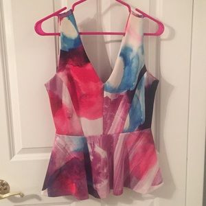 H&M Watercolor Peplum Tank Top